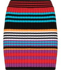 agr stripe knit fitted mini skirt - black