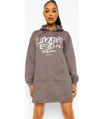 limited edition grafitti hoodie jurk, charcoal