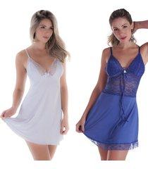 kit 2 peças camisola rendada sem bojo branca e azul royal diário íntimo