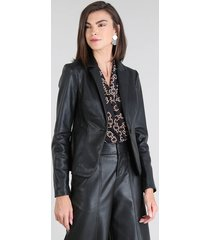 blazer feminino acinturado com botão preto