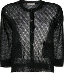dorothee schumacher transparent lightweight knit cardigan - black