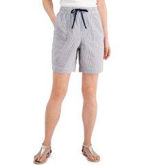 karen scott striped pull-on seersucker shorts, created for macy's
