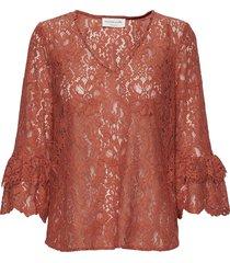blouse 3/4 s blus långärmad brun rosemunde