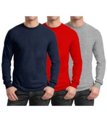 galaxy by harvic men's 3-pack egyptian cotton-blend long sleeve crew neck tee