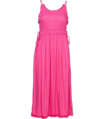 viscose summer midi dress with straps jurk knielengte roze scotch & soda