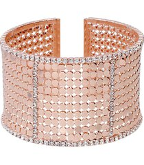 bracciale bangle con strass in metallo rosato per donna