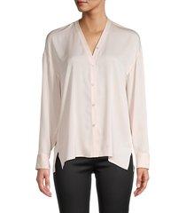 vince women's trapunto stretch silk shirt - pale petal - size xs