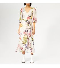 ganni women's tilden mesh dress - bright white - eu 38/uk 10 - white