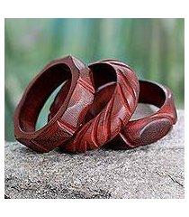 wood bangle bracelets, 'indian romance' (set of 3) (india)