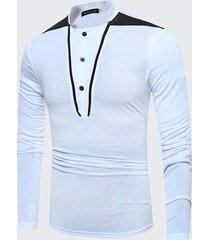 maglietta casuale del cotone del collare del basamento del manicotto della manica della rappezzatura di modo degli uomini