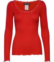 silk t-shirt regular ls w/rev vinta t-shirts & tops long-sleeved rood rosemunde