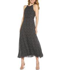 women's adrianna papell darling dot sleeveless chiffon dress, size 2 - black