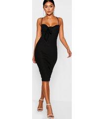 skinny fit midi jurk met strik, zwart