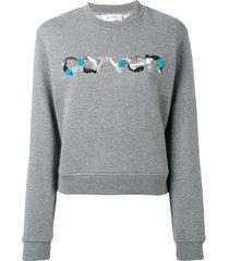 carven sequin logo round neck sweatshirt - grey