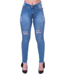 calça jeans destroyed cintura alta desfiada levanta bumbum selten
