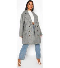 petite marl double breasted wool look coat, grey