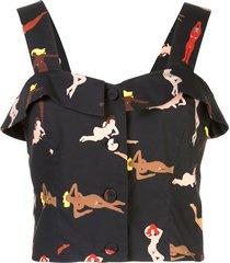 lhd fernwood beach babes tank blouse - black