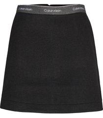 double face skirt kort kjol svart calvin klein