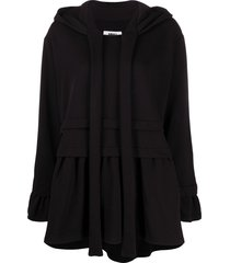 mm6 maison margiela layered-effect flared hoodie - black