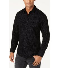 inc men's flocked floral shirt, created for macy's
