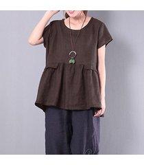 zanzea pullover rullfled tops mujeres o cuello de manga larga flouncing blusa ocasional del café -marrón