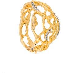 susan caplan vintage elizabeth taylor cuff bracelet - gold