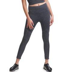 women's dkny seamless high waist rib leggings, size small - black