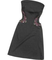 hafize ozbudak designer t-shirts & tops, black crystal decorated cut out strapless dress