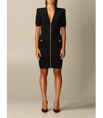 balmain dress balmain dress in ribbed viscose with zip