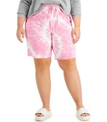 full circle trends trendy plus size tie-dyed shorts