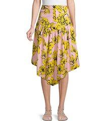 floral stretch asymmetrical skirt
