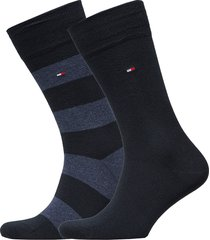 th men rugby sock 2p underwear socks regular socks blå tommy hilfiger
