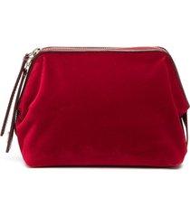 l'autre chose small velvet clutch bag - red