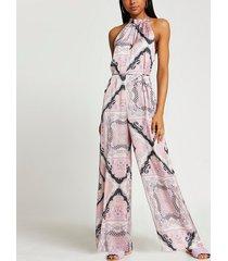 river island womens pink scarf print halter neck jumpsuit