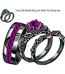 0.75ctw purple amethyst 14k black gold finish his-her wedding trio ring set