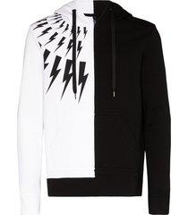 neil barrett thunderbolt two-tone hoodie - black