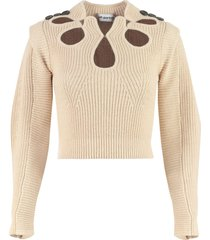 self-portrait ribbed pullover with cut-out details