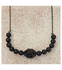 black rhodium plated agate pendant necklace, 'gala elegance' (brazil)
