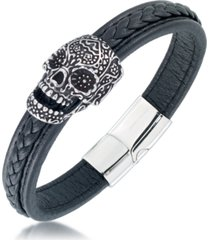 andrew charles by andy hilfiger men's ornamental skull leather bracelet in stainless steel