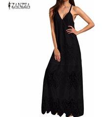 zanzea vestido largo sin manga encaje sexy playa -negro