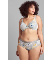 lane bryant women's cotton high-leg brief panty with wide waistband 34/36 heather grey parisian floral
