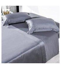 jogo de cama 300 fios casal 100% algodáo penteado toque acetinado fronha com abas  clear - tessi.