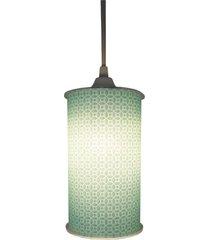 luminária pendente cilíndrica crie casa arabesco verde - tricae