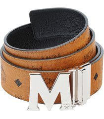 women's mcm logo buckle reversible belt, size one size - cognac
