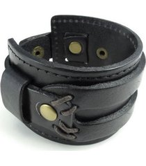 brazalete ancho cuero - color negro