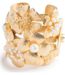 gold brass peony bracelet, women's, josie natori