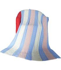 manta colorida decorativa tricot 110cm x 150cm cod 1035.1 azul-off-rosa - estampado - feminino - dafiti