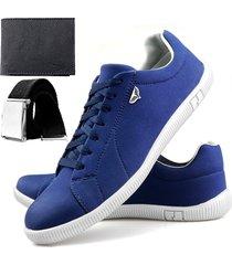 sapatenis touro boots 900 sw azul + cinto + carteira - azul - masculino - sintã©tico - dafiti