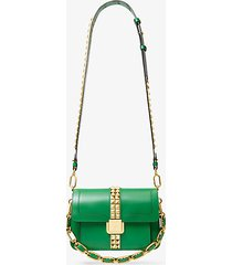 mk borsa a tracolla crawford in pelle con borchie - verde kelly (verde) - michael kors