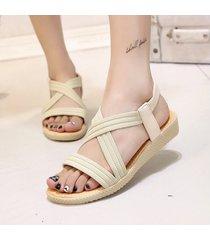 sandalias de mujer de color sólido plano de moda